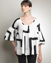 B0TZN Piazza Sempione Graphic Tunic Blouse