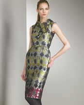 Oscar de la Renta - Designer Collections  -  Bergdorf Goodman :  abstract-print dress citrine-fuchsia-silver sleeveless stand collar
