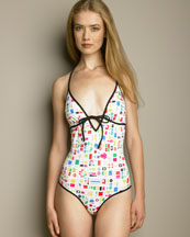 Fendi - Printed Swimsuit -  Bergdorf Goodman :  geometric print clothing swimwear made in italy