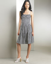 Nanette Lepore / Misty Day Dress -  Bergdorf Goodman :  criss cross straps fitted bodice white clothing
