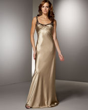 Lace and Satin Gown -  Bergdorf Goodman :  full length carmen marc valvo dress evening