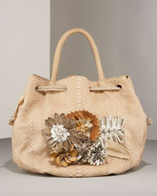 Floral Poof Tote -  Bergdorf Goodman :  floral bag carlos falchi brown