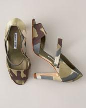 Camo Mary Jane Sandal- Bergdorf Goodman :  sandal camo manolo blahnik pump
