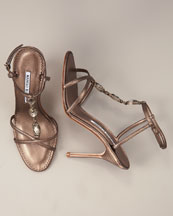 Manolo Blahnik - Jeweled T-Strap Sandal -  Bergdorf Goodman :  rounded toe made in italy brown open toe