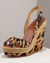 Leopard Wedge Sandal- Bergdorf Goodman