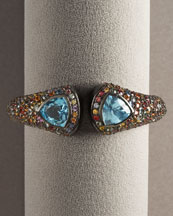 Blue Topaz and Multicolor Sapphire Black Enamel Hinged Bracelet -  Bergdorf Goodman from bergdorfgoodman.com