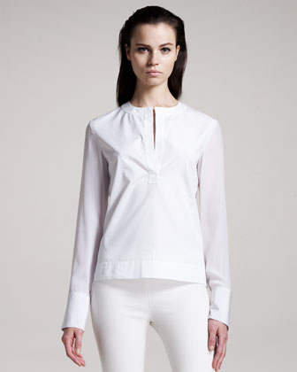 The Row Silk-trim Poplin Blouse
