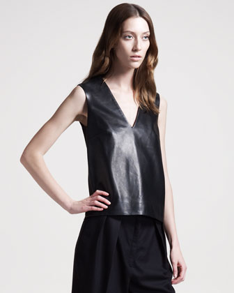 The Row Stretch-leather Top