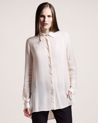 The Row Twill Blouse, Rose Tan