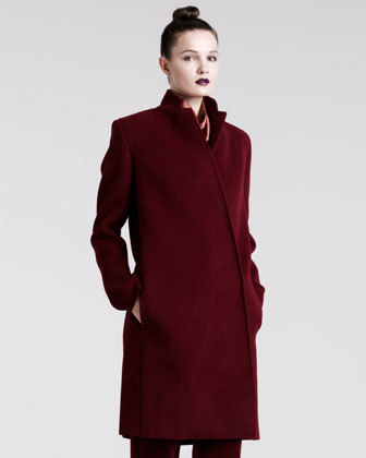 Notch-Collar Wool Coat