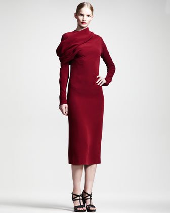 Draped Long-Sleeve Silk Dress