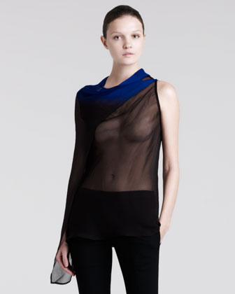Sheer Draped Georgette Degrade Top, Black/Blue