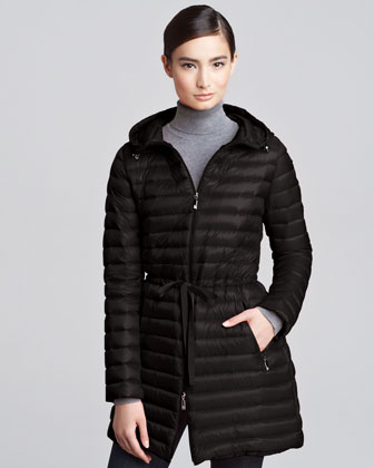 Mid-Length Puffer Coat, Black