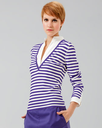 Akris Punto Poplin-inset Striped Knit Swe