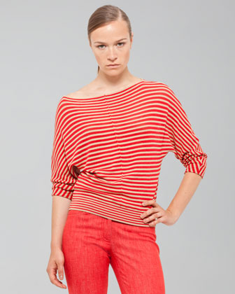 Akris Striped Top With Banded Hem