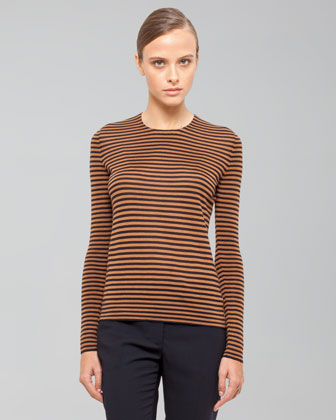 Akris Long-sleeve Striped Top