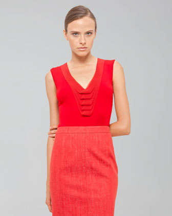 Akris Sleeveless V Neck Shell