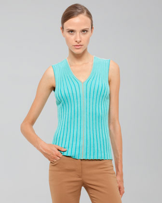 Akris Ribbed Sleeveless Shell