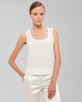 Akris Scoop-neck Organza Shell