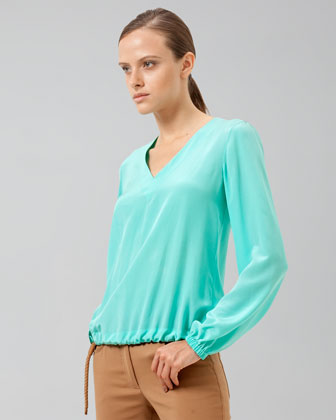 Akris V-neck Popover Top With Draw-cord W