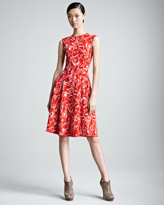Sleeveless Dress with Jacquard Weave