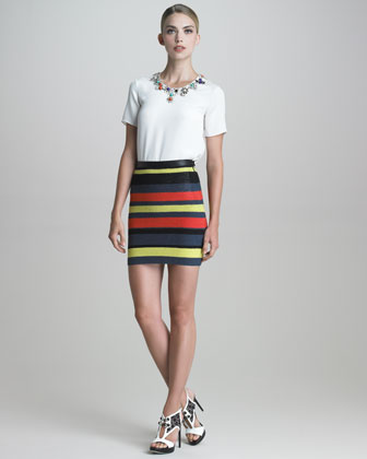 Crochet-Striped Pencil Skirt