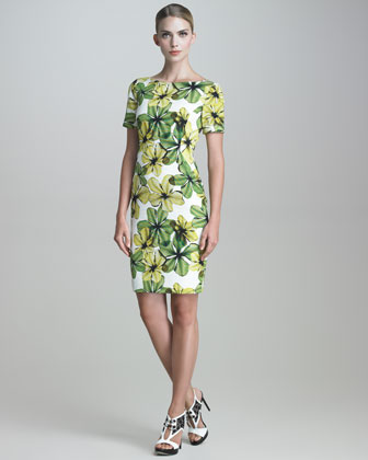 Short-Sleeve Floral-Print Faille Dress