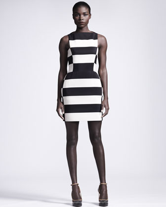 Graphic Striped Sheath Dress