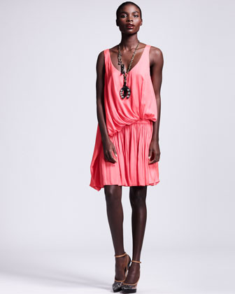 Draped Drop-Waist Dress