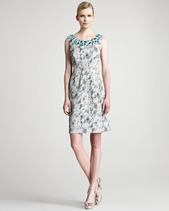Embroidered Jacquard Sheath Dress