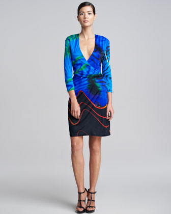 Faux-Wrap Print Dress