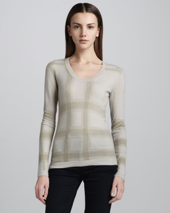 Check-Print Cashmere Sweater