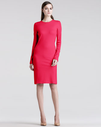 Long-Sleeve Jersey Sheath Dress
