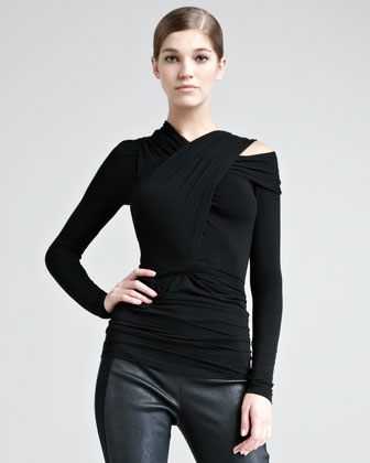 Donna Karan Cold-shoulder Jersey Top