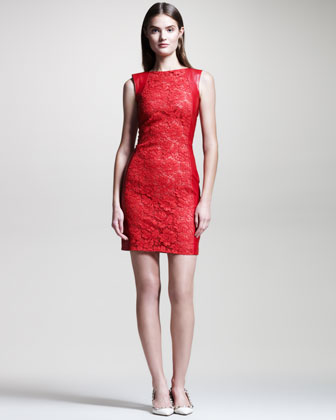 Lace-Front Leather Dress