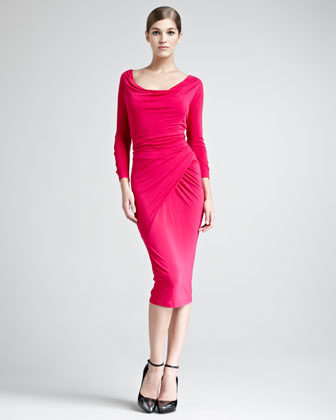 Donna Karan Draped Scoop-neck Jersey Dres