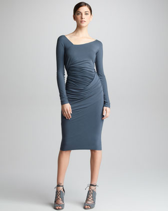 Donna Karan Asymmetric Draped Dress