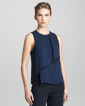 Sleeveless Panel-Front Blouse