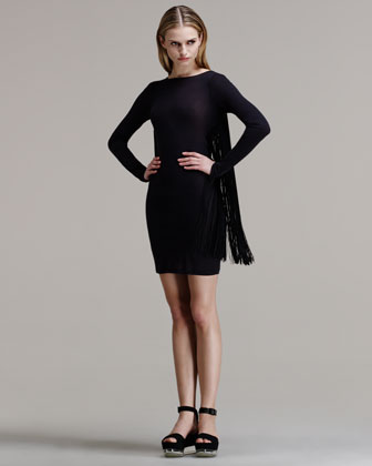 Fringed Long-Sleeve Dress