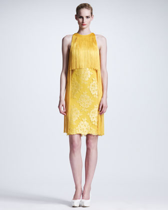 Fringed Halter Lace Dress, Citrus