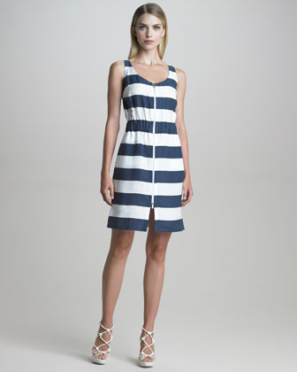 Zip-Front Nautical-Striped Dress