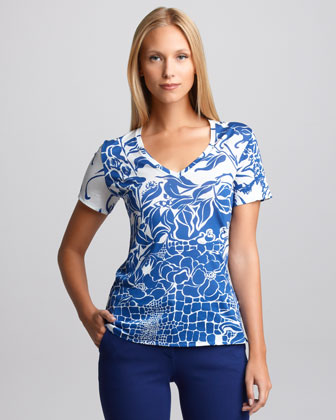 Printed V-Neck Tee, Blue/White