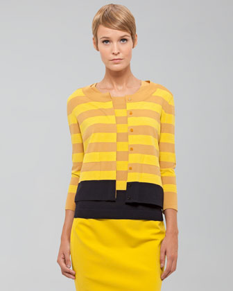 Akris Punto Striped Wool Cardigan, Citron