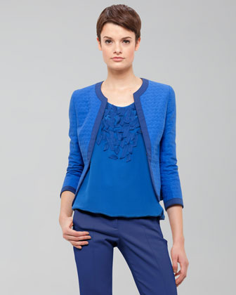 Three-Quarter-Sleeve Cotton Jacket, Royal