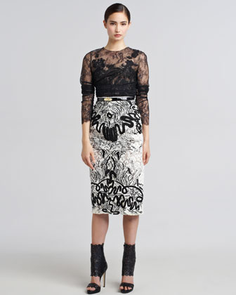 Embroidered Guipure Lace Skirt