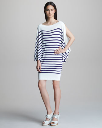Striped Bateau-Neck Dress