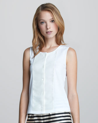 Sleeveless Button-Front Top