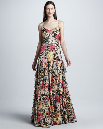 Floral Silk Organza Evening Dress