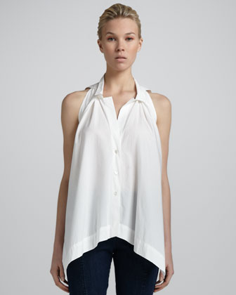 Donna Karan Pleated-front Sleeveless Top,