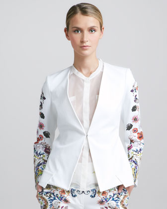 Etro Floral-sleeve Jacket, White/multi